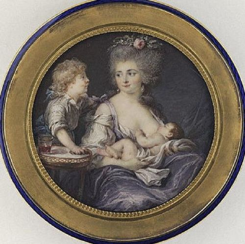 First modern French painting of breast-feeding, 1783. (Labille-Guiard)