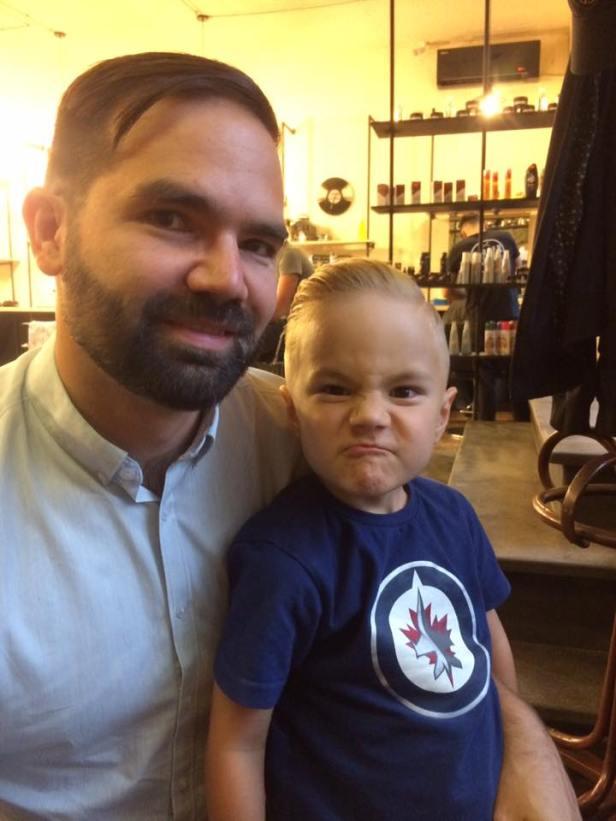 Alasdair and papa haircut
